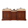 Silkroad Exclusive Stanton Natural Cherry Integral Double Sink Bathroom Vanity with Travertine Top (Common: 83-in x 23-in; Actual: 83-in x 23-in)