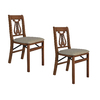 Stakmore Set of 2 Indoor Wood Music Back Cherry Standard Folding Chairs
