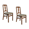 Stakmore Set of 2 Indoor Wood Queen Anne Cherry Standard Folding Chairs