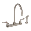 Premier Faucet Sanibel Brushed Nickel 2-Handle High-Arc Kitchen Faucet with Side Spray
