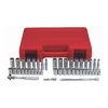 K Tool International 44-Piece Standard (SAE) and Metric Combination 1/4-in Drive 6-Point Socket Set with Case