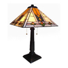 Chloe Lighting Mission 22-in Bronze Tiffany-Style Indoor Table Lamp with Glass Shade