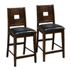 Furniture of America Set of 2 Primrose Dark Walnut 26-in Counter Stools