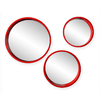 Holly & Martin Daws Red-Orange Polished Round Framed Wall Mirror