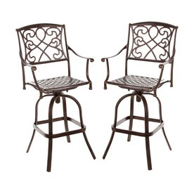 Shop Best Selling Home Decor Set Of 2 Swivel Woven Aluminum Patio Bar Height