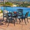 Best Selling Home Decor Hallandale 5-Piece Black Sand Aluminum Patio Dining Set
