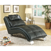 Coaster Fine Furniture Black Chrome Vinyl Chaise