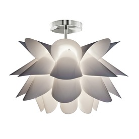 Style Selections Hansteen 23.23-in W White Textured Semi-Flush Mount Light
