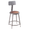 National Public Seating Adjustable Height Grey Stool with Backrest