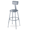 National Public Seating Adjustable Height Grey Padded Stool with Backrest