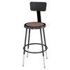 National Public Seating Adjustable Height Black Stool with Backrest