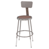 National Public Seating 19- 27 Adjustable Height Metal Shop Stool with Hardboard Seat & Metal Backrest
