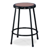 National Public Seating 24-in Fixed Height Hardboard Stool in Black with Masonite Seat