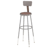 National Public Seating 31- 38 Adjustable Height Metal Shop Stool with Hardboard Seat & Metal Backrest