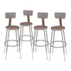 National Public Seating Adjustable Height Metal Shop Stool with Hardboard Seat and Metal Backrest