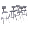 National Public Seating Adjustable Height Metal Shop Stool with Vinyl Padded Seat and Backrest