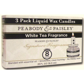 PEABODY &amp; PAISLEY 3-Pack 0.55 oz White Tea Clear Tea Light Candle