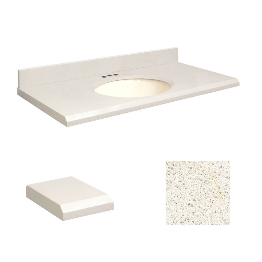 Shop Transolid Milan White Quartz Undermount Single Sink Bathroom ...