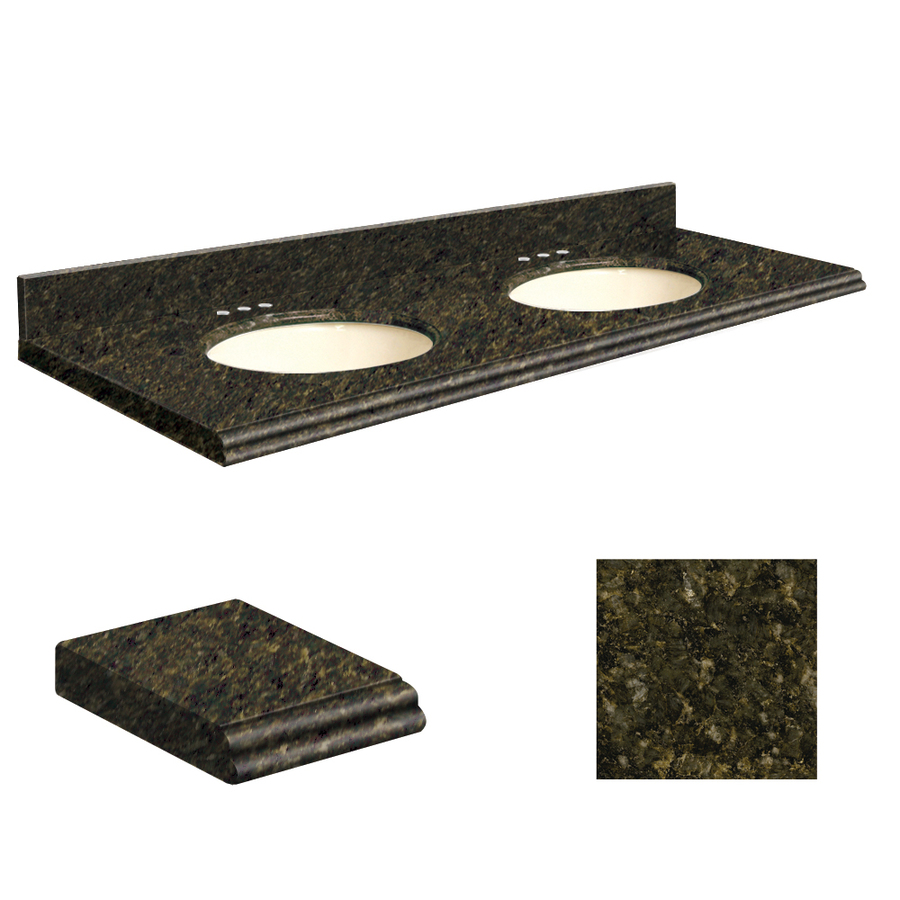 Shop transolid uba verde granite undermount double sink bathroom vanity top common 61 in x 22 - Double bathroom vanities granite tops ...
