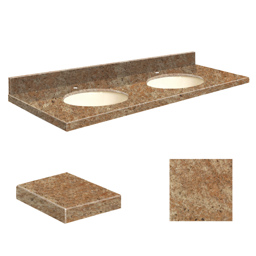 Shop transolid india gold granite undermount double sink bathroom vanity top common 61 in x 22 - Double bathroom vanities granite tops ...