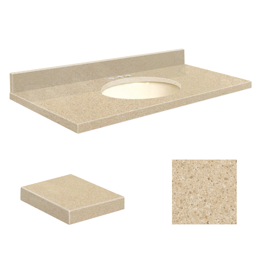 Shop transolid durum cream quartz undermount single sink for Bathroom quartz vanity tops