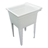 Transolid 22.375-in x 26-in 1-Basin Gray Freestanding Polypropylene Tub Utility Sink with Drain