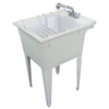 Transolid 22.375-in x 26-in 1-Basin Gray Freestanding Polypropylene Tub Utility Sink with Drain and Faucet