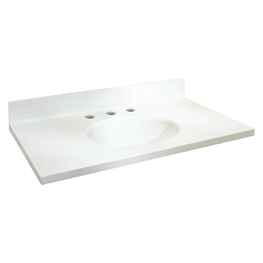 Solid Surface Vanity Tops With Sink : Shop transolid chelsea white solid surface integral single
