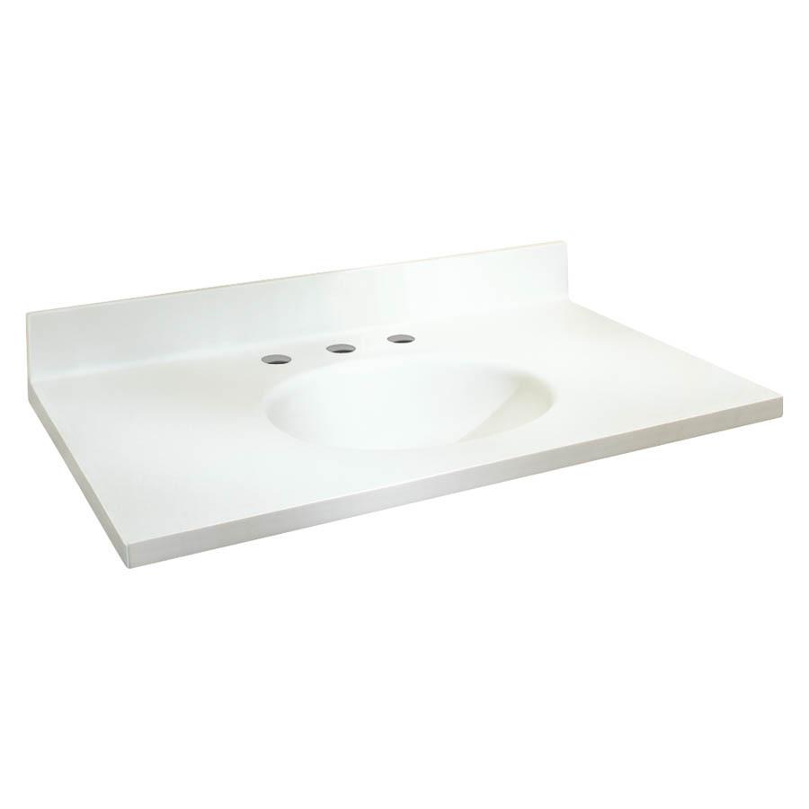 Solid Surface Vanity Tops : Chelsea White Solid Surface Integral Single Sink Bathroom Vanity Top ...