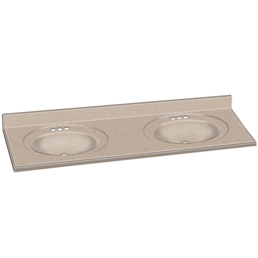 Solid Surface Vanity Tops : Decor Seaside Solid Surface Integral Double Sink Bathroom Vanity Top ...