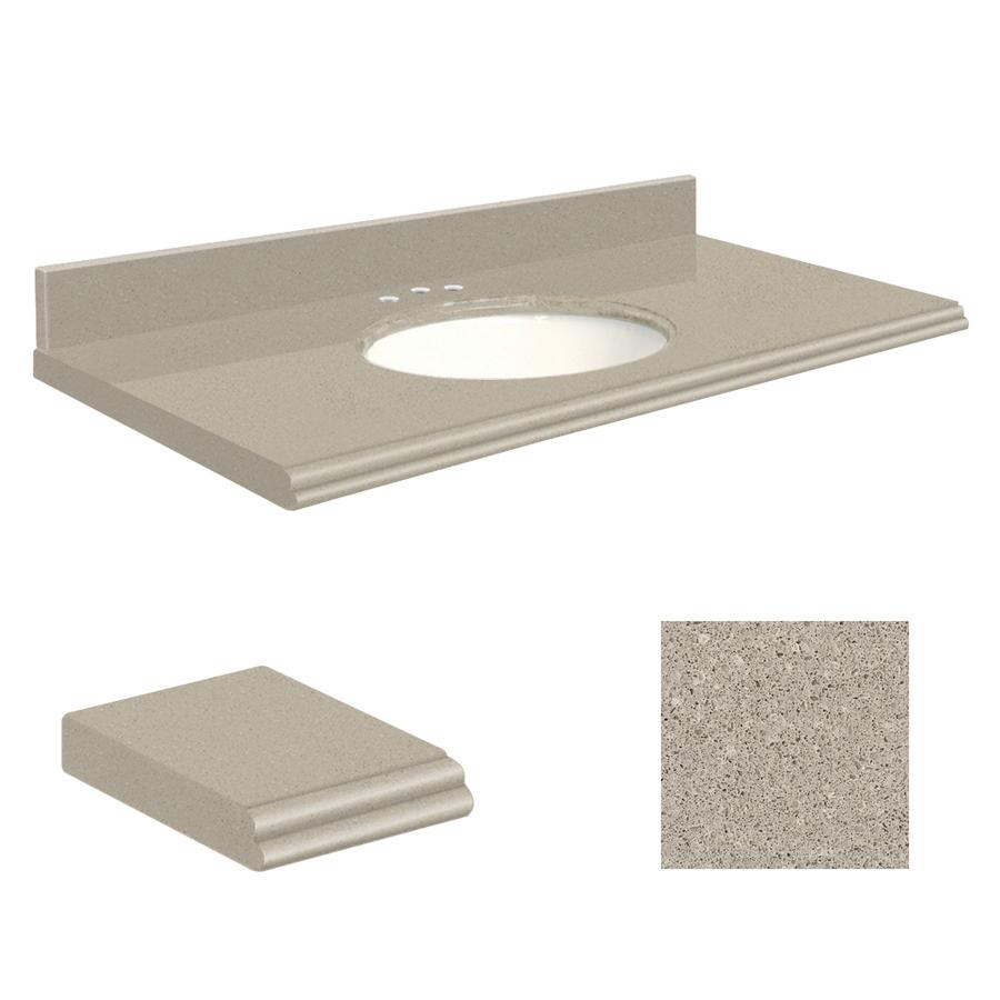 Olympia Gray Quartz Undermount Single Sink Bathroom Vanity Top