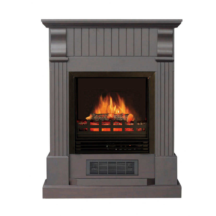 Shop Stay Warm 28 In W 5 115 Btu Dark Chocolate Wood And Metal Wall Mount Electric Fireplace