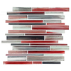 EPOCH Architectural Surfaces Brushstrokes Multicolor Red Linear Mosaic Glass Wall Tile (Common: 12-in x 14-in; Actual: 11.73-in x 11.73-in)