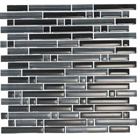 EPOCH Architectural Surfaces Brushstrokes 5-Pack Blacks Mosaic Glass Wall Tile (Common: 12-in x 12-in; Actual: 11.75-in x 11.87-in)