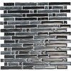 EPOCH Architectural Surfaces 5-Pack 12-in x 12-in Brushstrokes Black Glass Wall Tile