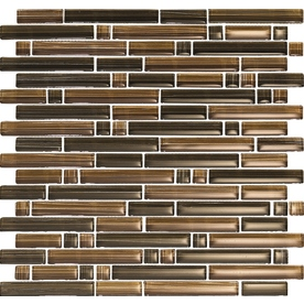 EPOCH Architectural Surfaces Brushstrokes 5-Pack Browns/Tans Mosaic Glass Wall Tile (Common: 12-in x 12-in; Actual: 11.75-in x 11.87-in)