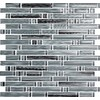EPOCH Architectural Surfaces Brushstrokes 5-Pack Grays Mosaic Glass Wall Tile (Common: 12-in x 12-in; Actual: 11.75-in x 11.87-in)