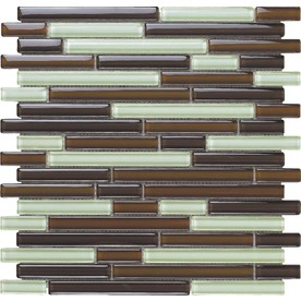 EPOCH Architectural Surfaces Color Blends 5-Pack Browns/Tans Mosaic Glass Wall Tile (Common: 12-in x 12-in; Actual: 11.75-in x 11.87-in)