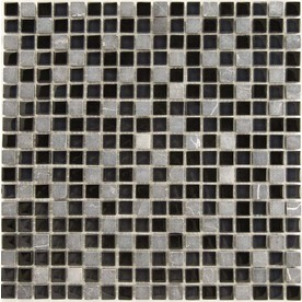 EPOCH Architectural Surfaces 5-Pack Dancez Blacks Mixed Material (Stone/Glass/Metal) Mosaic Square Wall Tile (Common: 12-in x 12-in; Actual: 11.75-in x 11.75-in)