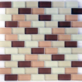 EPOCH Architectural Surfaces 5-Pack Desertz Browns/Tans Glass Mosaic Subway Wall Tile (Common: 12-in x 12-in; Actual: 11.65-in x 11.61-in)