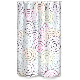 Style Selections Eva/Peva Multicolored Circles Patterned Shower Curtain/Liner