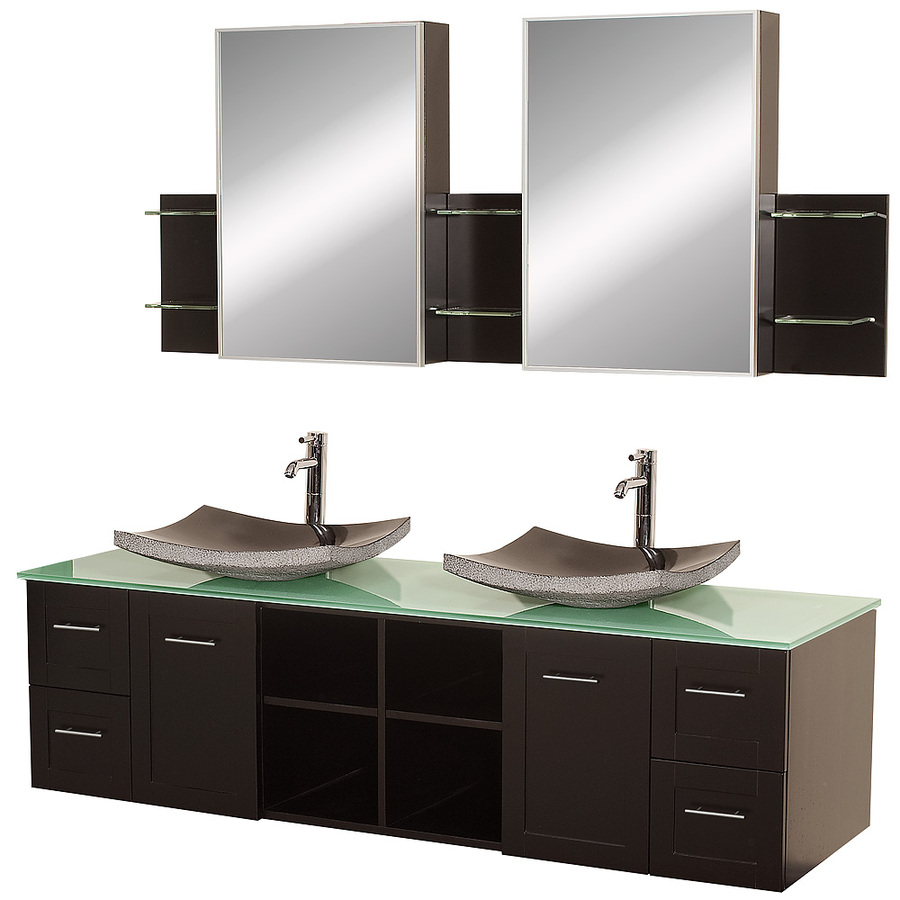 Shop Wyndham Collection Avara Espresso Vessel Double Sink Oak Bathroom Vanity With Tempered