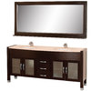 Wyndham Collection Daytona Espresso Undermount Double Sink Oak Bathroom Vanity with Natural Marble Top (Common: 71-in x 22-in; Actual: 70.75-in x 21.50-in)