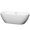 Wyndham Collection Soho White Acrylic Oval Freestanding Bathtub with Center Drain (Common: 31-in x 68-in; Actual: 22.75-in x 30.5-in x 68-in)