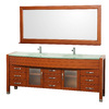 Wyndham Collection Daytona Cherry Integral Double Sink Oak Bathroom Vanity with Tempered Glass and Glass Top (Common: 78-in x 22-in; Actual: 78-in x 21.675-in)