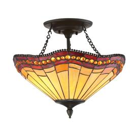 allen + roth 17-in W Aged Bronze Opalescent Glass Semi-Flush Mount Light