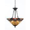 Portfolio 20-in W Valiant Bronze Tiffany-Style Pendant Light with Tiffany-Style Shade