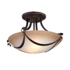 allen + roth Winnsboro 15.5-in W Oil-Rubbed Bronze Marbleized Semi-Flush Mount Light