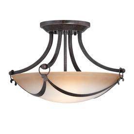 allen + roth 15-1/4-in W Drape Imperial Bronze Marbleized Semi-Flush Mount Light