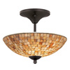Portfolio 13-1/2-in Mosaic Bronze Semi-Flush Mount Light